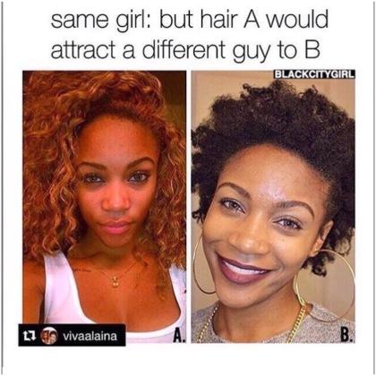 Photo Credit: [natural hair girl meme] (N.D). Retrieved October 17, 2015 from www.instgram.com/mygirlsquad