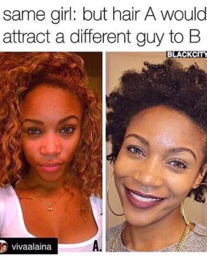 Photo Credit: [natural hair girl meme] (N.D). Retrieved October 17, 2015 from www.instgram.com/mygirlsquad